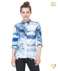 Desigual Hemd Flower, blau.