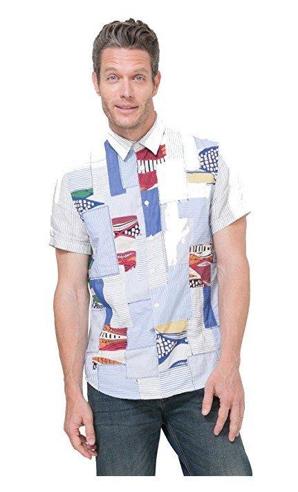 Desigual Hemd Salsa / Weiß-blaues Hemd mit Patchwork..