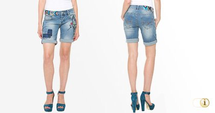 Desigual Short, Jeans, Damen, Denim, blau.