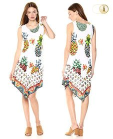 Desigual Kleid ROUSES, Pineapple, weiss.