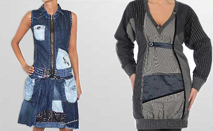 Desigual Jeanskleid Patchi und Kleid Murcielago, blau, grau.