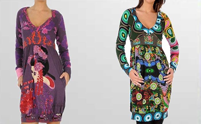 Desigual Kleid Phoenix und Michelle, lila, türkis.