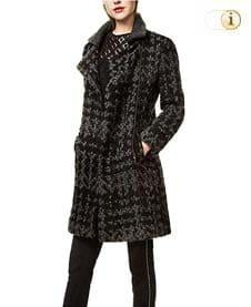 Desigual Wintermantel aus zweifarbigem Trikotstoff für Damen, schwarz.