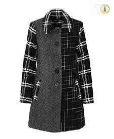 Desigual Mantel Cincinnati für Damen mit künstlerischem Schwarz-Weiß-Muster, schwarz-weiß.