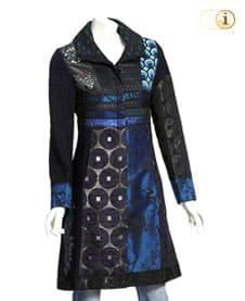 Blauer Desigual Mantel für Damen, Blue-Morning, blau-schwarz, brokat.
