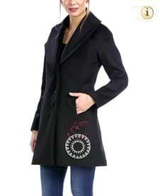 Schwarzer Desigual Caban Wintermantel für Damen mit schickem Mandalamuster und breitem Revers, schwarz.
