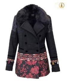 Schwarzer Desigual Wintermantel für Damen, Abrig Washington, schwarz mit Blumen, brokat.