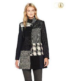 Schwarzer Desigual Wintermantel für Damen. Mantel Abrig rosita, schwarz/grau.
