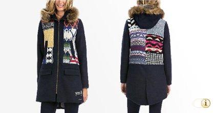 Schwarzer Desigual Wintermantel, für Damen. Mantel Sheila, schwarz.