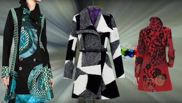 Desigual Mäntel für Damen in schwarz-blau, Mantel schwarz-weiß, Mantel rot-schwarz.