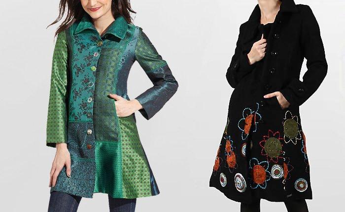 Desigual Wintermantel, Mantel Abrig Dasha, grün, türkis und Desigual Mantel Abrig Sacha, schwarz.