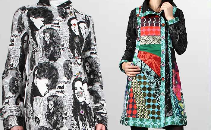 Desigual Mantel Abrig Sombras, schwarz, weiß und Desigual Mantel Mi Musa, türkis,blau, rot.
