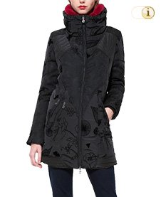 Schwarzer Desigual Wintermantel für Damen. Mantel ABRIG Bratislava, schwarz.