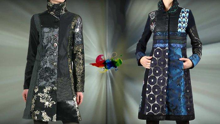 Desigual Mäntel für Damen. Mantel Dark Night, schwarz und Brokatstoffe. und Mantel Blue Morning, schwarz, blau und Brokatstoffe.