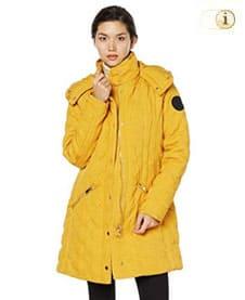Gelber Desigual Mantel für Damen, Mantel Leicester, karogesteppt, gelb.