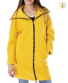 Gelber Desigual Wintermantel für Damen. Mantel mit buntem Reißverschluss, gelb.