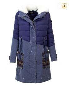 Blauer Desigual Wintermantel im Jeanslook für Damen mit ethnischen bunten Mustern, blau.