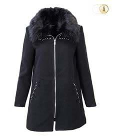 Desigual Mantel Abrig Collin, Wintermantel für Damen mit großem Pelzkragen, schwarz