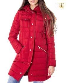 Roter Desigual Daunen-Wintermantel für Damen, gesteppt und gepolstert, rot.