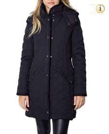 Schwarzer Desigual Daunen-Wintermantel für Damen, gepolstert, schwarz.