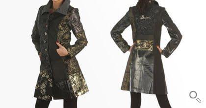 Desigual Mantel für Damen. Mantel Abrig Dark Night, schwarz-brokat.