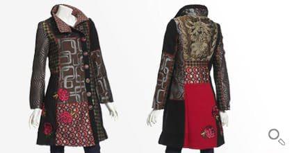 Desigual Mantel für Damen. Mantel Abrig Dasha, rot, braun, brokat.