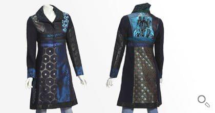 Desigual Mantel für Damen. Mantel Blue Morning, schwarz, blau, brokat.