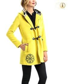 Gelber Desigual Wintermantel für Damen, Mantel Yellow Explosion mit 4 Taschen, gelb.