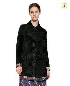Schwarzer Desigual Mantel für Damen. Mantel Letonia, schwarz mit Blumen, brokat.