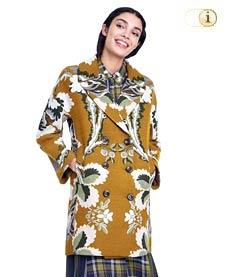 Desigual Mantel Marais für Damen mit  Blütenmuster und Blättern auf gelbem Grundton, gelb.