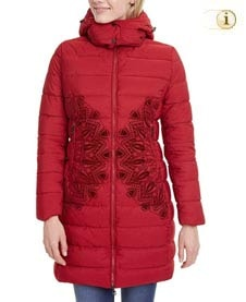 Roter Desigual Wintermantel für Damen. Mantel gepolstert, mit Mandala, rot.