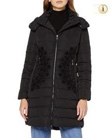 Schwarzer Desigual Wintermantel für Damen. Mantel gepolstert, mit Mandala, schwarz.