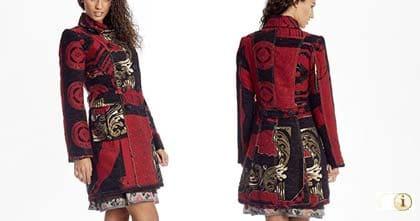 Schwarz-Roter Wintermantel für Damen. Mantel Posthuman, schwarz-rot, brokat.