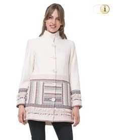 Weißer Desigual Wintermantel, für Damen. Mantel Asha, weiß.