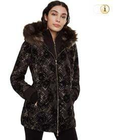 Brauner Desigual Wintermantel für Damen mit großer Pelzkragenkapuze, braun.