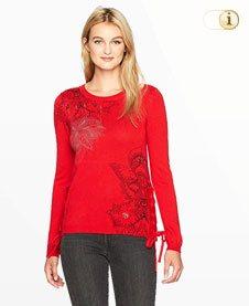 Desigual Pullover Trendy, rot, schwarz.