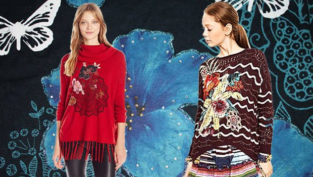 Desigual Herbst, Pullover, rot, braun, Blume.