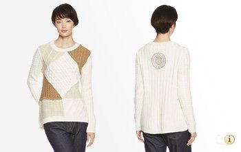 Desigual Pullover, weiss, braun.