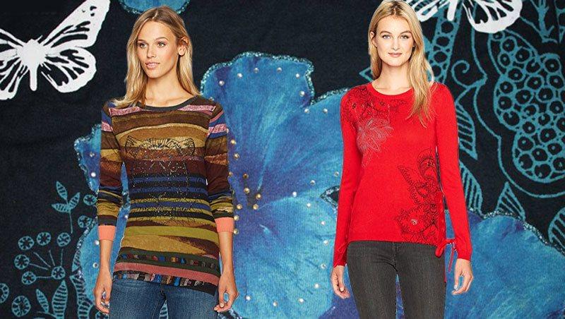 Desigual Damen Pullover in grünbraun und rot.