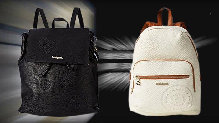 Schwarzer Desigual Rucksack, BOLS SINTRA und weißer Desigual Rucksack, LIMA CALYPSO.