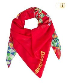 Desigual Herbst, Foulard, Schal, Loopschal SOFT SQUARE, rot.
