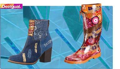 Desigual Herbst, EXOTIC DENIM, Ankle Boot, jeans, blau und Desigual Gummistiefel, rot.