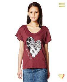 Desigual Sommer, Shirt Beget, mit Herz, rot.