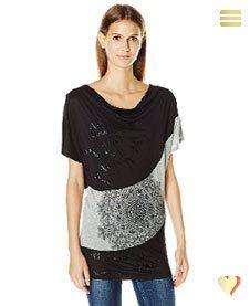Desigual Sommer, Damen Shirt Suiza, schwarz.
