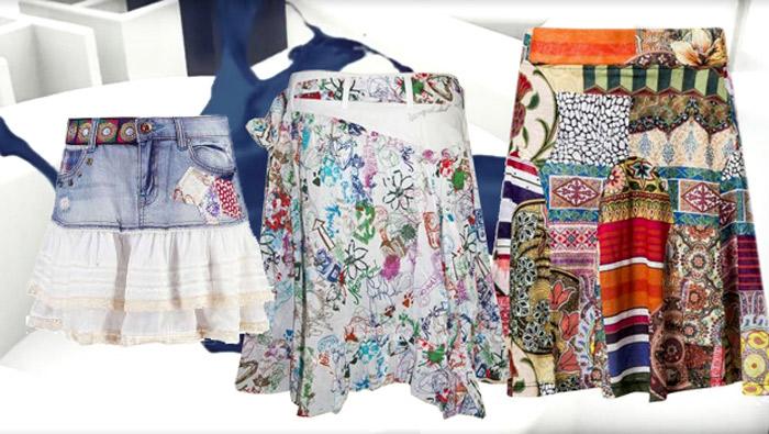 Desigual Rock, Sommer, Jeans, denim, weiß, patchwork.