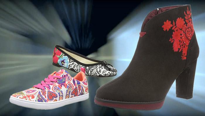Desigual Schuhe, braun, rot, weiß.