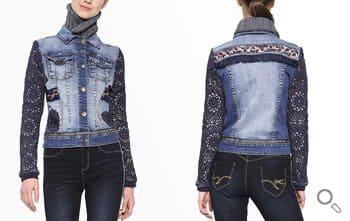 Desigual Jeansjacke Chaq Exotic Crochet, blau.