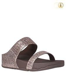 FitFlop Pantolette Lulu Slide. Farbe: schimmerndes Kupfer.