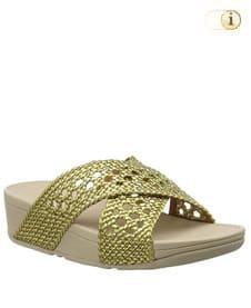 FitFlop Pantolette Lulu im geflochtenen Gewebe-Design. Farbe: goldgrün.