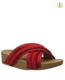 FitFlop Pantolette Lulu mit Fransen. Farbe: rot.